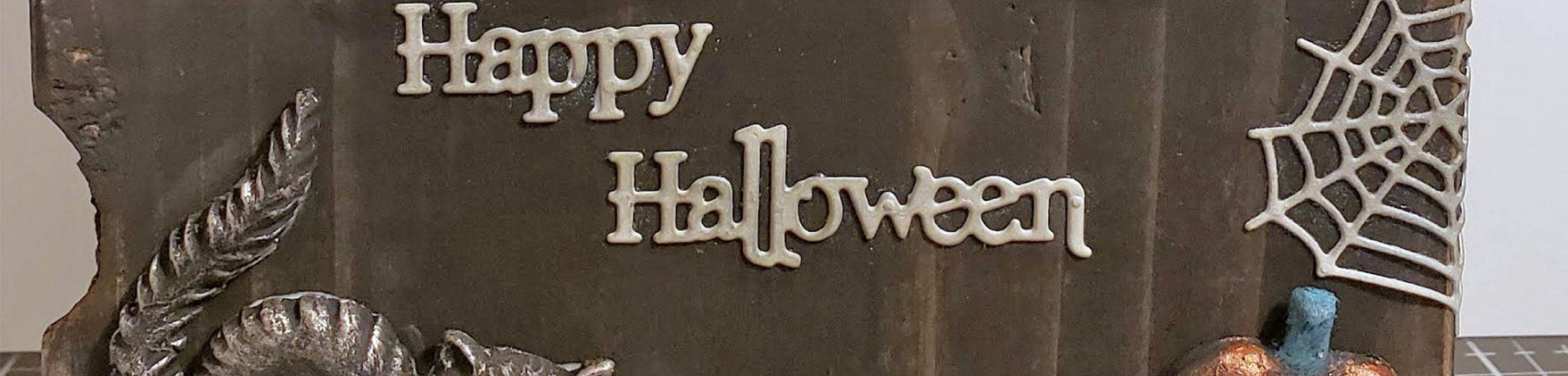 Mixed Media Halloween Village Block